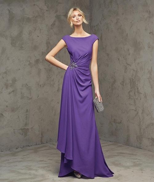 mor saten uzun abiye elbise