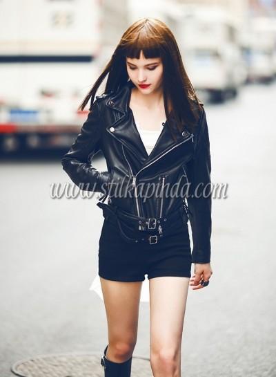 motorcu tarzı siyah deri ceket