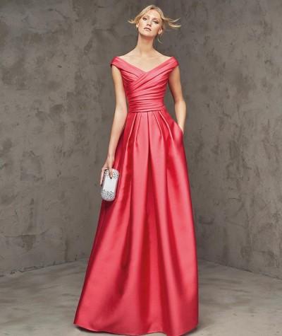 nar çiçeği saten uzun abiye elbise