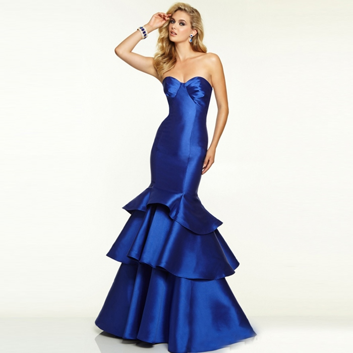parlament mavisi saten uzun straplez abiye elbise