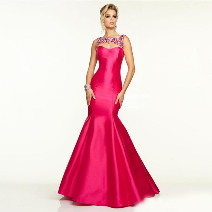 pembe fuşya saten uzun abiye elbise