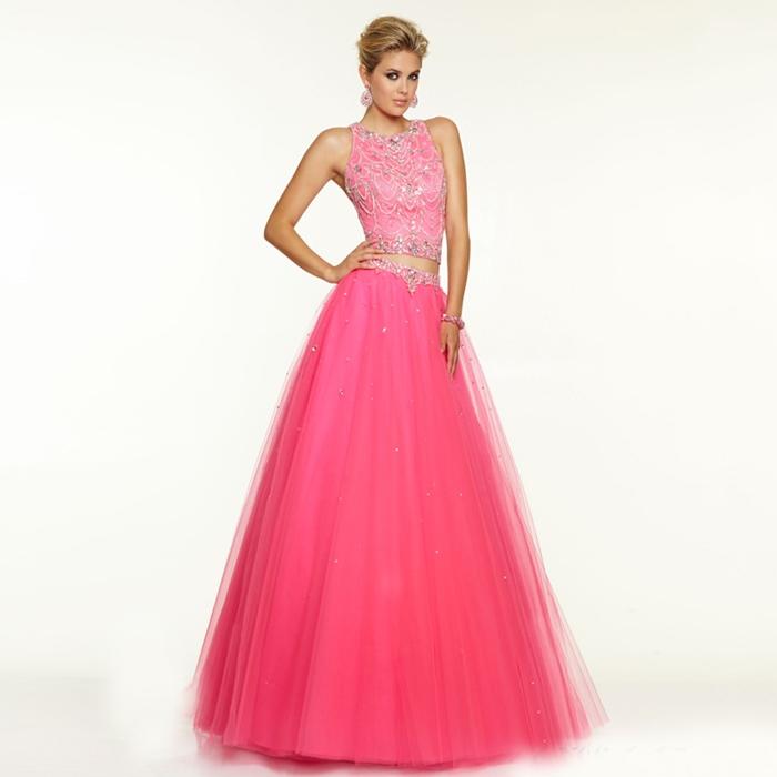 pembe iki parça prenses model abiye elbise