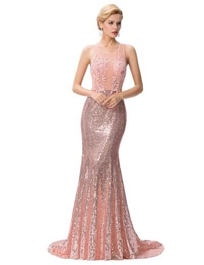 pembe payetli uzun gece elbisesi