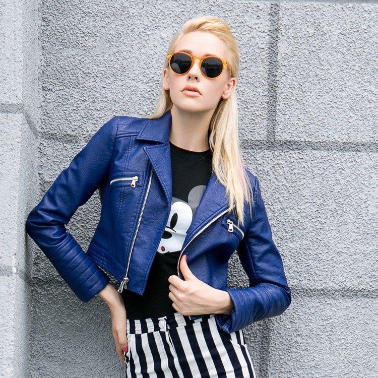 safir mavi deri kısa ceket