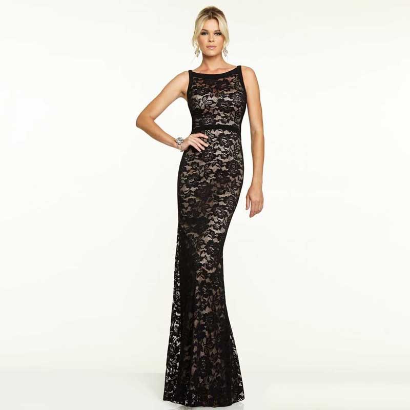 siyah dantel uzun abiye elbise