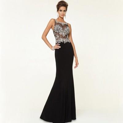 siyah işlemeli uzun abiye elbise