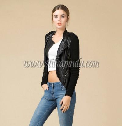siyah kısa deri ceket