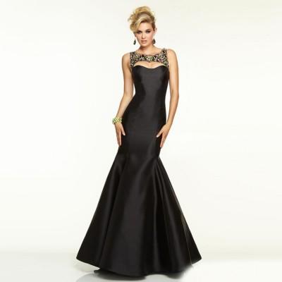 siyah saten straplez uzun abiye elbise