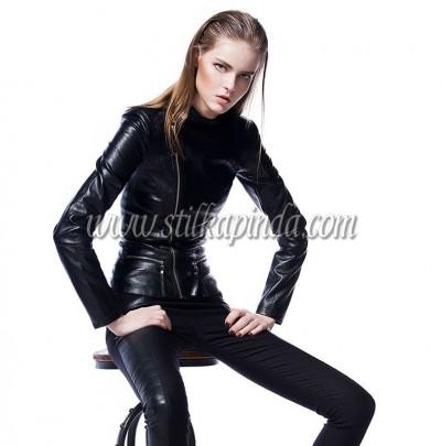 siyah slim deri ceket