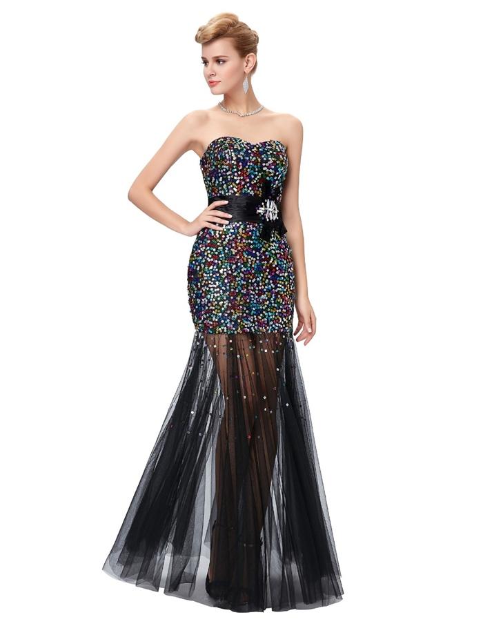 siyah straplez boncuk işlemeli abiye elbise