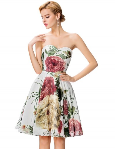 straplez mini desenli elbise