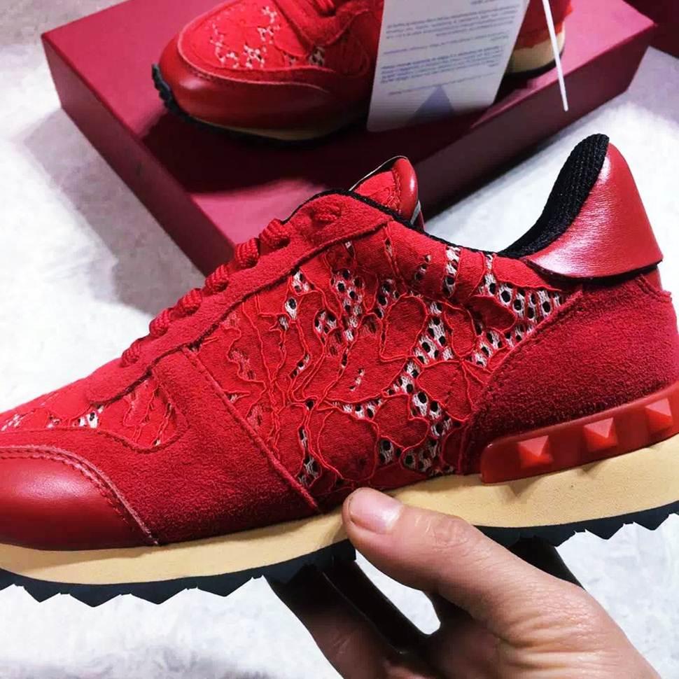 bordo dantel zımba sneakers valentino spor ayakkabı