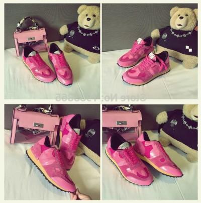 fuşya dantel zımba sneakers valentino spor ayakkabı
