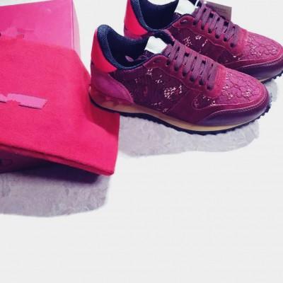 kırmızı dantel zımba sneakers valentino spor ayakkabı
