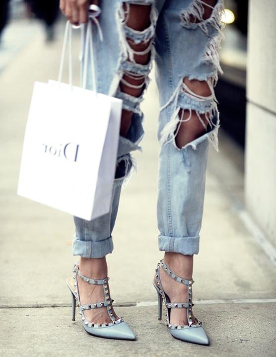 mavi stiletto valentino topuklu ayakkabı