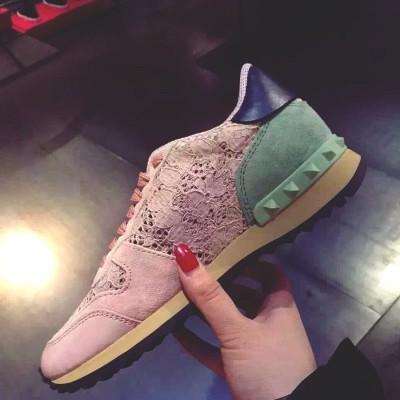 pembe dantel zımba sneakers valentino spor ayakkabı