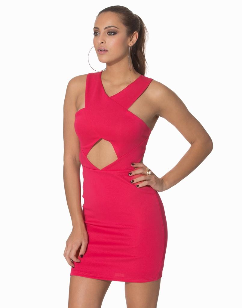 çapraz kalın bantlı dekolteli kırmızı mini mezuniyet elbisesi