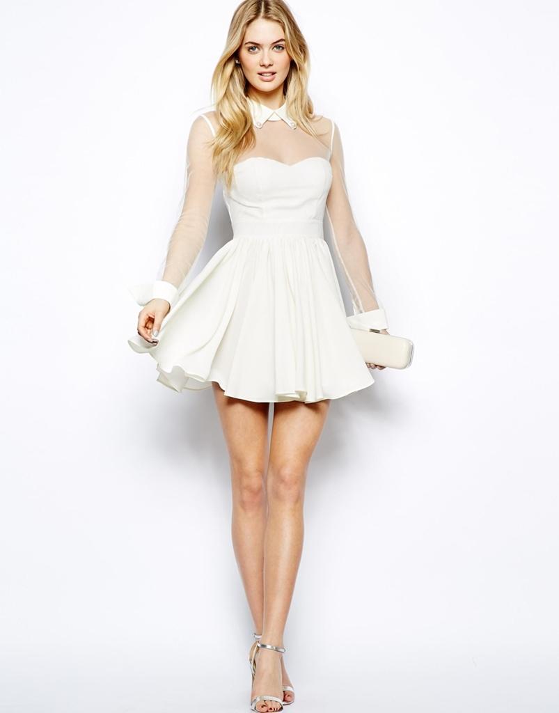 beyaz şifon mini mezuniyet elbisesi