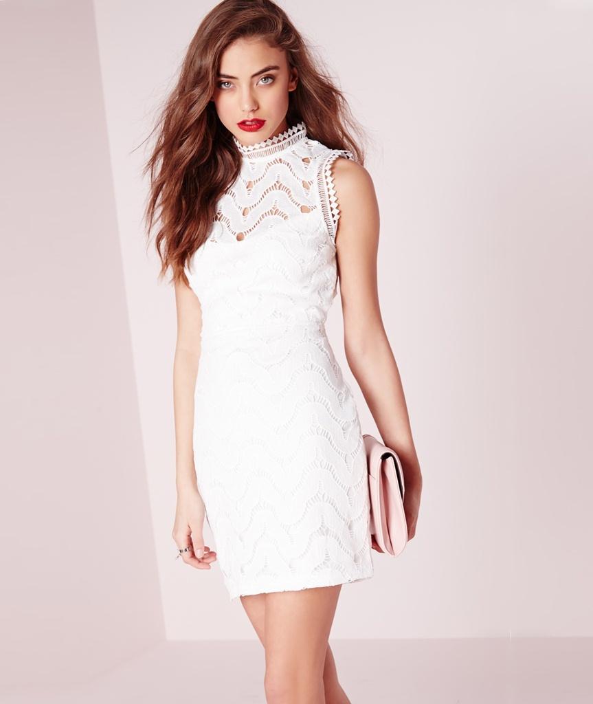 beyaz dantel işlemeli mini diz üstü mezuniyet elbisesi