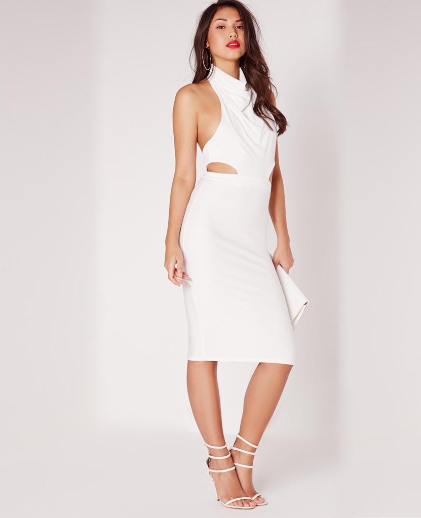 beyaz degaje yaka sırt dekolteli mezuniyet elbisesi
