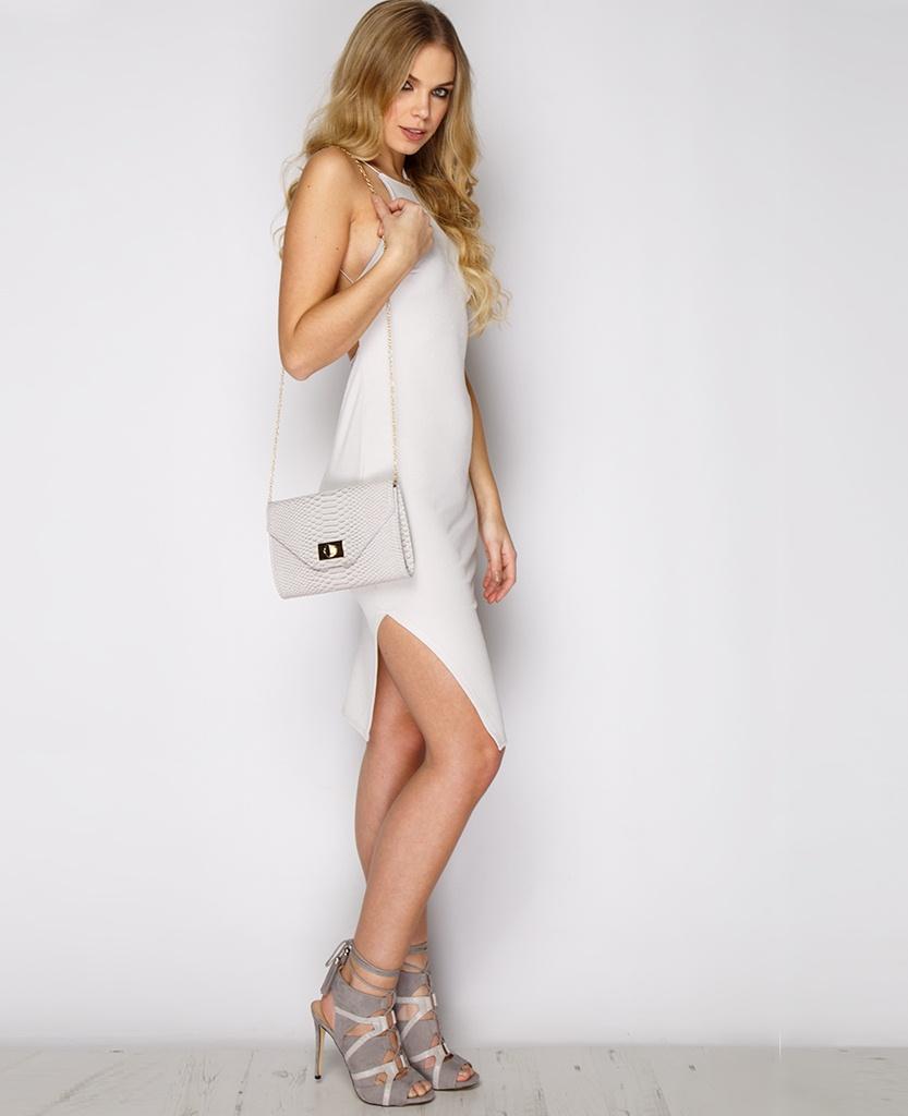 beyaz derin sırt dekolteli gümüş mezuniyet elbisesi