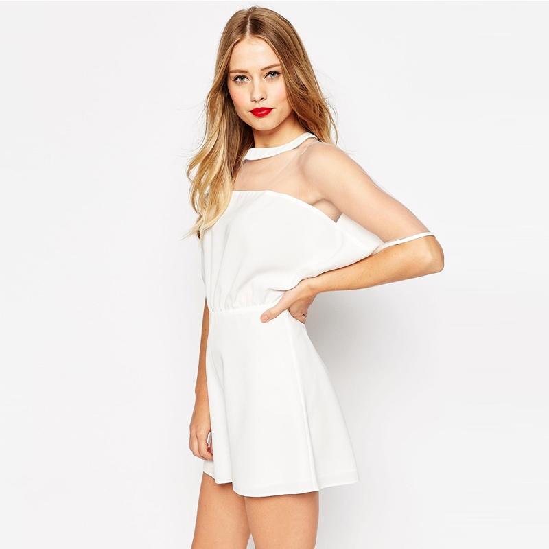 beyaz kolları tül mini elbise