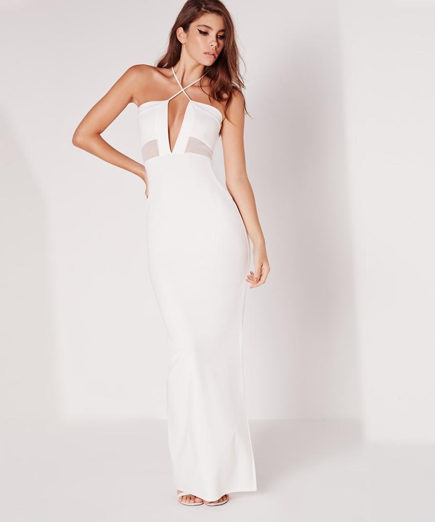 boyundan çapraz askılı maksi boy uzun beyaz mezuniyet elbisesi