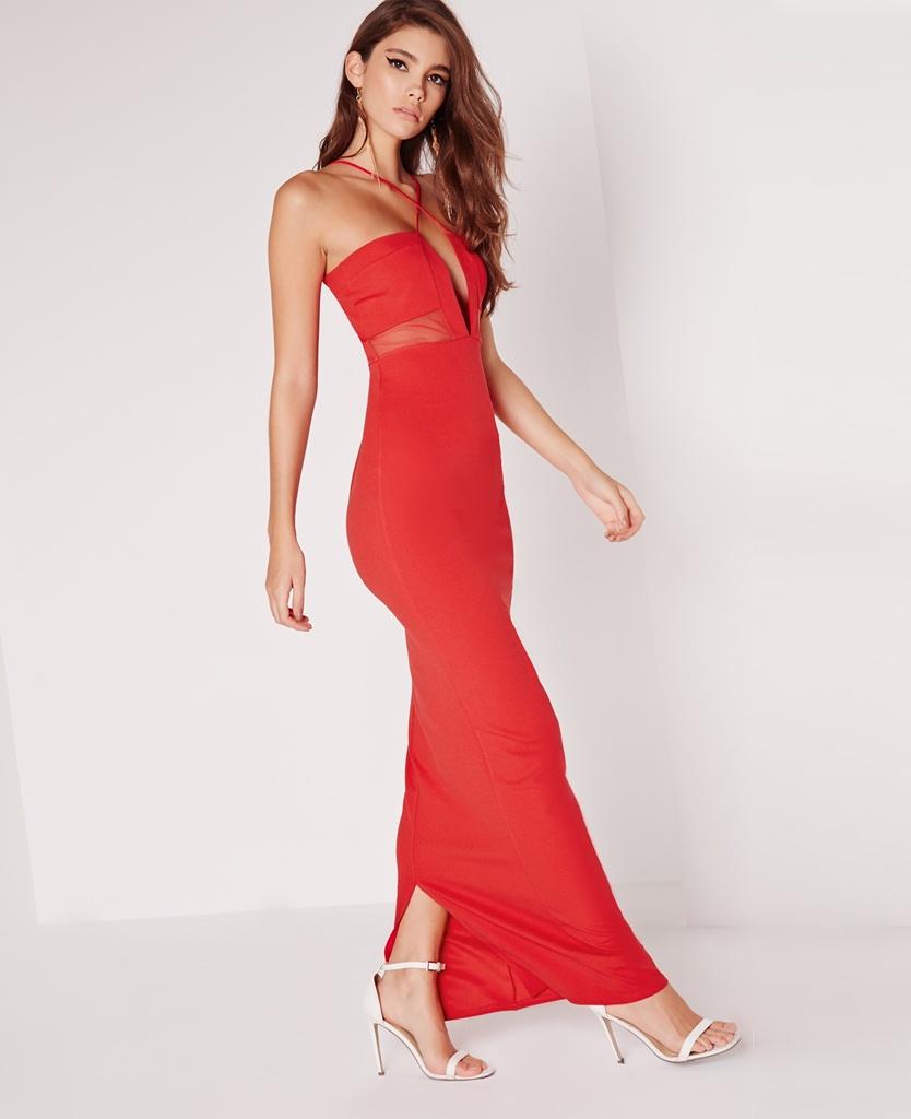 boyundan çapraz askılı maksi boy uzun kırmızı mezuniyet elbisesi