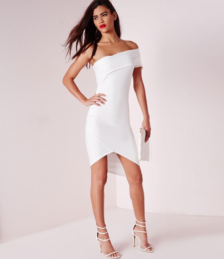 mezuniyet elbisesi beyaz asimetrik kesim straplez