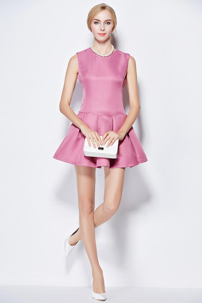 pembe kolsuz pileli mini mezuniyet elbisesi