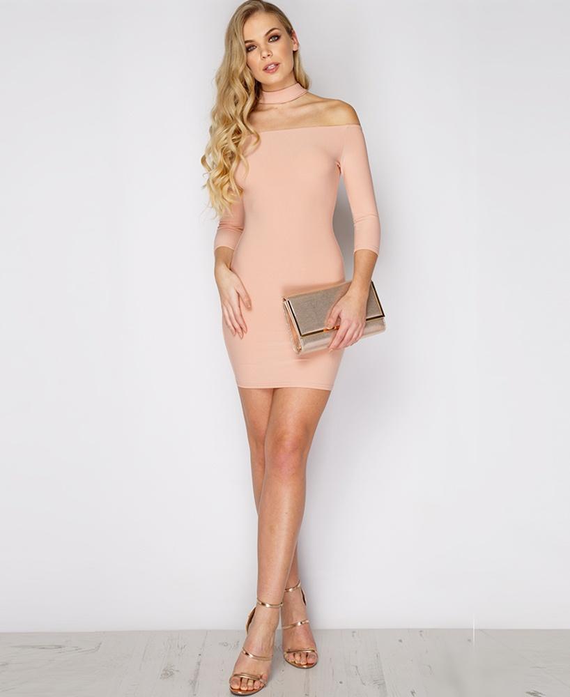 pudra omuz dekolteli mini mezuniyet elbisesi