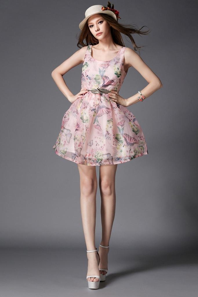 pudra pembe desenli mini mezuniyet elbisesi