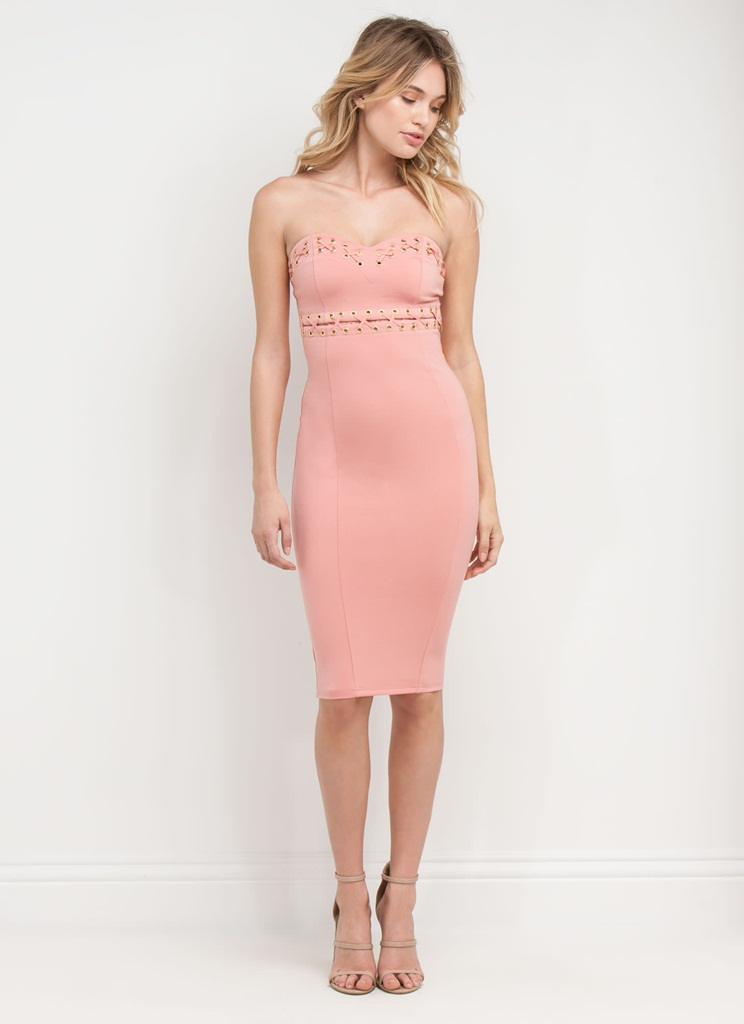 pudra rengi diz altı midi dar askılı elbise