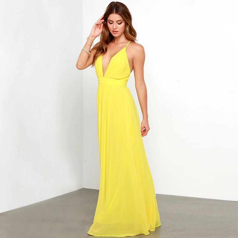 sarı askılı dekolteli maksi uzun mezuniyet elbisesi