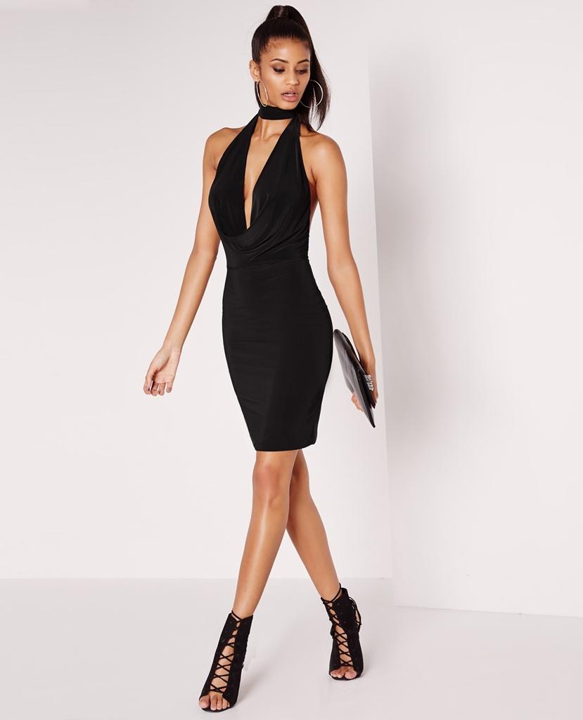 siyah boyundan bağlamalı diz üstü bandaj kumaş mezuniyet elbisesi