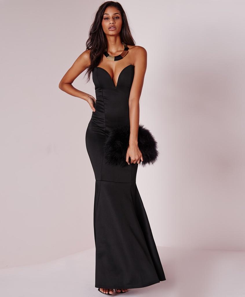 siyah straplez  dekolteli uzun mezuniyet elbisesi