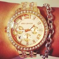 altın sarısı kol saati Michael kors gümüş zincir bileklik