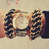 altın sarısı marc by marc jacobs kol saati kadın zincir bileklik