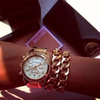 altın sarısı saat kol saati Michael kors kadın zincir bileklik