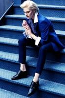 androjen tarzı kadın lacivert klasik pantolon ceket kombin