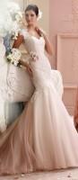 askılı krem rengi gelinlik modası