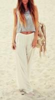 beyaz şifon pantalon kısa üst kombini