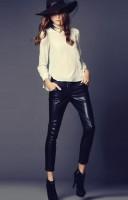 beyaz bluz siyah deri pantolon