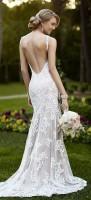 beyaz dantel askılı sırtı açık moda gelinlik
