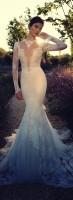 beyaz dantel tül uzun gece elbisesi abiye
