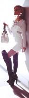 beyaz elbise mini kısa etek uzun diz üstü çizme deri bot