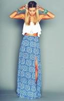 beyaz göbeği açık badi top crop mavi uzun etek yaz kadın