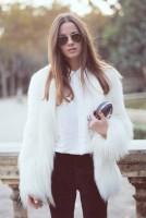 beyaz kürk ceket mont gömlek kadın el çantası