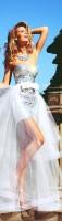beyaz taşlı straplez tarık ediz abiye elbise