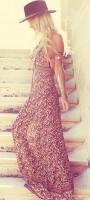 bohem tarzı desenli uzun askılı elbise